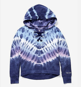 NWT JUSTICE GIRLS 16/18 TIE DYE LACE UP HOODIE🔥🔥🔥
