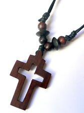Halskette Kette Kreuz Holz Baumwolle Verstellbar Damen Herren Handarbeit