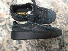 Puma Furry Black-Navy Basket Creeper Low Top Sneakers Sz K3.0/Eur35.5 NwoB Htf!
