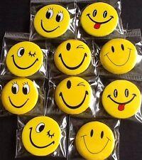 Job Lot 10 NEW sealed 25mm badges buttons SMILEY FACE Emoji PARTY BAG reward