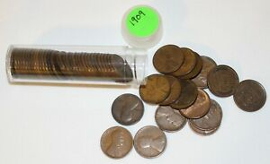 1 Roll 1909 Lincoln Wheat Cents 50 1c US Coins Average Circulated Philadelphia