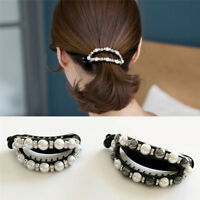 Women Elegant Crystal Pearl Black Hair Claws Ponytail HolderHair Clip HairpE Fh