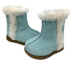 GYMBOREE Size 1 Baby Girl Blue Fur Trim Boots