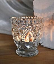 ❀ Teelichthalter Glas Klar 7,5 cm Nostalgie Pokal Relief Windlicht Kerzen #172