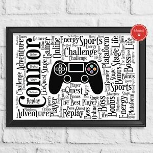 Personalised Playstation PS4 PS3 Xbox Nintendo Controller Word Art Gamer Gift
