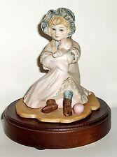 "1984 Jan Hagara Music Box Plays ""Love Story"" Girl & Baby Porcelain Figurine"