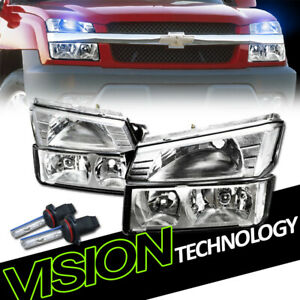 10K Hid Xenon+Chrome Headlights Headlamp Signal Parking  Nb For 02-06 Avalanche