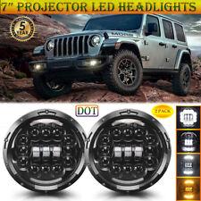 "Pair 7"" DOT Projector LED Headlights Amber DRL for Jeep Wrangler JK Liberty CJ"