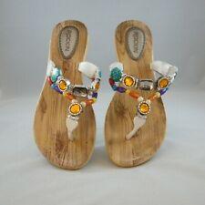 Rockin Footwear Jeweled Thong Sandals White Size 10 Flip Flops Slip Ons