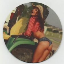 Sexy Country Cowgirl Girl on Green Tractor COASTER -