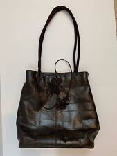 Falor Genuine Leather Brown Patterned Bucket Handbag Purse