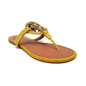 Tory Burch Metal Miller Leather Suede Sandals Goldfinch Gold Womens Size 9.5