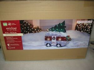 """NEW Lighted LED 31"""" Christmas Camper Trailer w/ Tree Indoor Outdoor Decoration"""