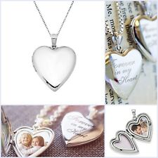 Sterling Silver Love Heart Locket Picture Pendant Necklace Custom Personalized