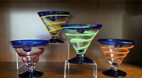 Anchor Hocking Hand Blown Glass Margarita/Martini Glass Set Of 4 Blue Rim & Stem