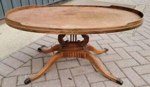 Vintage Mersman 7440 Pedestal Harp Lyre Base Wooden Oval Coffee Table Claw Feet