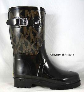 Michael KORS MK Signature Buckle Mid Calf RUBBER RAIN BOOTS