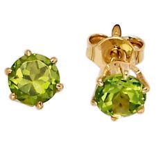 Ohrstecker rund 585 Gold Gelbgold 2 Peridote grün Ohrringe Goldohrstecker