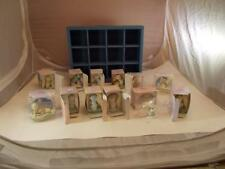 Precious Moments 12 Miniature Monthly Figurines Set In Wall Hanging Display Box