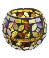 Amber Mosaic Tea Light Holder Single Candle Home Decor Tinted Glass Kaleidoscope