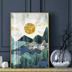 Golden Mountain Sunrise Wall Art Canvas Painting Abstract Landscape Posters New