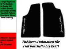 Fußmatten für Fiat Barchetta bis 2001  VELOUR! Schwarz Logo Grau