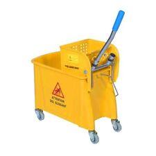 Chariot ménage lavage COMPACT jaune 20L sur roulettes + 1 presse à plat