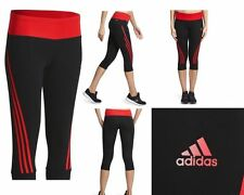 WOMENS ADIDAS 3/4 FITNESS TIGHTS CAPRI SIZE LARGE (16) BLACK RED