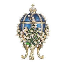 Russische Fabergé Ei / Schmuckkästchen Maiglöckchen mit Kaiserkrone 8,5 cm blau