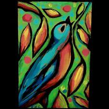 GRACE KELLY LASTER FOLK ART PAINTING BLUE BIRD BLUEBIRD OUTSIDER RAW