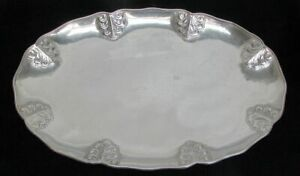 """VINTAGE CHILEAN CRAFTED 900 SILVER HAND PLANKED 22"""" MEDIUM SIZE SERVING TRAY"""