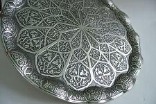 TURKISH TEA - WATER - COFFEE Serving TRAY, Dark Silver Color, Wavy Model