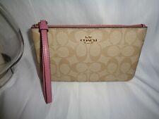 COACH 58695 SIGNATURE PVC LARGE WRISTLET CLUTCH POUCH LIGHT KHAKI ROSE BAG