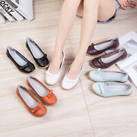 Women's Ladies Soft Real Leather Work Casual Slip On Loafers Flats Driving Shoes