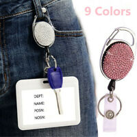 Key Ring Diamond Retractable Keychain ID Card Badge Holder Shiny Belt Clip