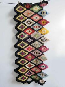 "STUNNING ANTIQUE PATCHWORK PANEL 59"" x 24"" vintage quilt counterpane"