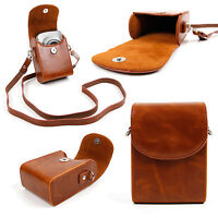 Faux Leather Case with Carry Strap in 'Vintage' Brown for Compact Cameras