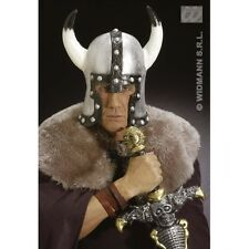 BARBARIAN HELMET SILVER LATEX Hat Accessory for Viking Warrior Middle Ages Fancy