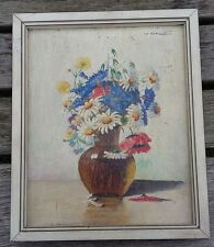 Ölbild Blumenbild signiert H. Ei... Bild Rahmen Mohn Kornblume Magaritte Holz