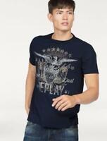 REPLAY Maglietta T-Shirt Girocollo Blu in Cotone con Stampa e Logo -S-  €59