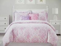 CYNTHIA ROWLEY Kids 4pc Pink Purple Paisley Floral Comforter Set - Twin