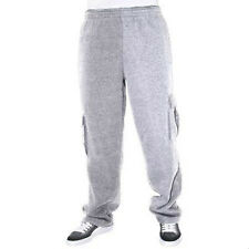 Mens Cargo Sweat Pants Track Pants With Fleece Heavy Weight Light Gray Size 2XL