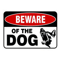 Beware Of The Dog Logo Iron Sign, Metal Warning Sign For Garage Decor 30cmx20cm