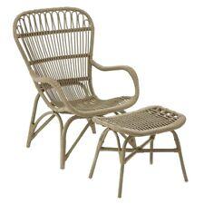 Havana Low Grey Rattan Armchair and Footstool