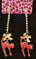 Betsey Johnson Red Black Enamel Bow Tie Rhinestone Dangle Cat Leopard Earrings
