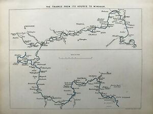 1887 Antique map: The Thames from its source to Windsor by Stanford