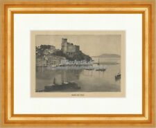 Castle of Lerici La Spezia Liguria Castle Fortress Shelley Wood Engraving E 22048