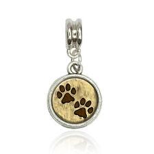 Grungy Pet Paw Prints Euro European Italian Style Bracelet Bead Charm