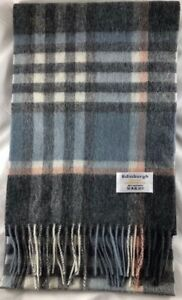 Edinburgh 100% Lambswool Luxury Scottish Tartan Scarf - Orange/Grey/Blue