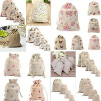 DIY Printed Cotton Handmade Linen Drawstring Tote Wedding Gift Bag NEW